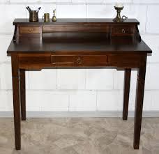 Schreibtisch Nussbaum Sekretär 100x91x57cm 1 2 Schubladen Pappel Massiv Nussbaumfarben