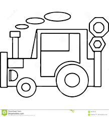 tractor geometrical kids coloring pages stock illustration image