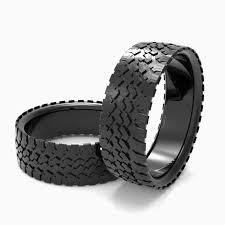 tire wedding rings custom made mens tire wedding band black silver tire ring tread