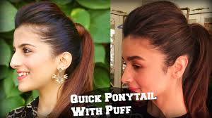 1 min perfect puff with a quick high ponytail hairstyle for