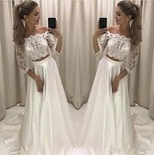 wedding dress brand discount modern 2018 new two pieces a line wedding dresses lace