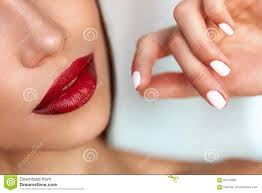 beauty make up model with red lips beautiful nails stock