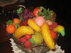 vintage sequined beaded fruit and craft