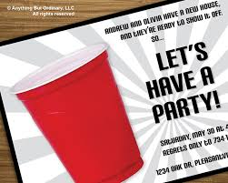 diy red cup house warming party invitation printable digital