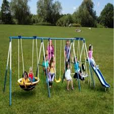 Metal Backyard Playsets by Metal Outdoor Swing Set Backyard Playground Swings Slide Play Fun