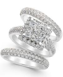 diamond bridal sets diamond bridal set in 14k white gold 2 2 3 ct t w rings