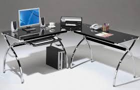 Black Tempered Glass Computer Desk Desk Two Computer Desk Glass And Chrome Computer Table Black