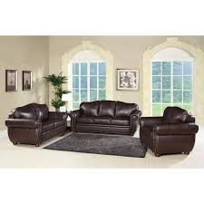 abbyson berkeley brown italian leather loveseat and sofa set