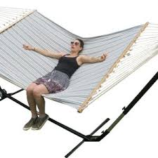 free standing large blue and white spreader bar hammock cut