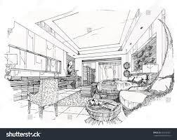 sketch streaks bedroom black white interior stock vector 593195651