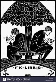 ex libris design for book couple reading on a bench back to back