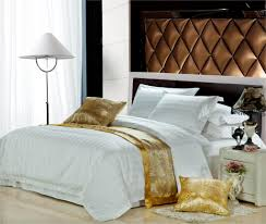 bedroom cotton satin white duvet cover queen with floor lamp and