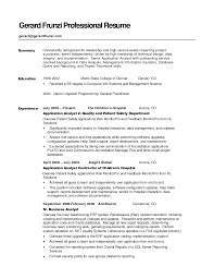 Summary Resume Examples Entry Level by Resume Summary Resume Examples