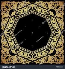 luxury ornate frame damask style golden stock vector 222191650