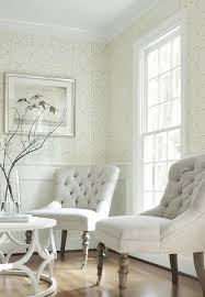 pierson wallpaper in green on beige middleton chairs in oatmeal