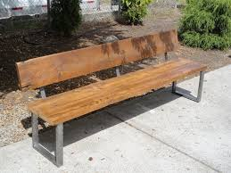 Wood Bench With Metal Legs 6 Ft Bench With Back And Rectangular Legs Made From Antique