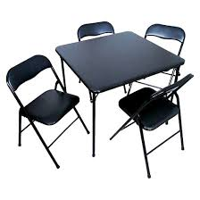 5 piece folding chair and table set black plastic dev group