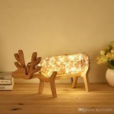 deer lights nordic wind solid wood table lamp night light tree