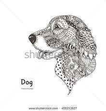 handdrawn dog ethnic floral doodle pattern stock vector 400253827