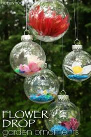 flower drop ornaments clear plastic ornaments garden ornaments