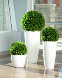 Trees With White Flowers Decorating Green Ball Artificial Topiary Trees With White Vases