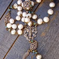 wedding rosary our of lourdes wedding rosary bronze pearls free