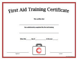 first aid certificate template first aid training certificate