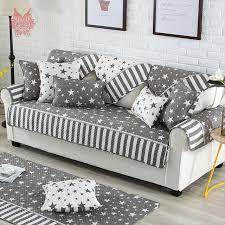 canapé coton moderne style gris blanc étoiles imprimé housse de canapé matelassé