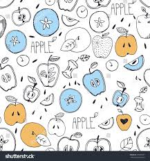 freehand drawing seamless pattern sketch apple stock vector