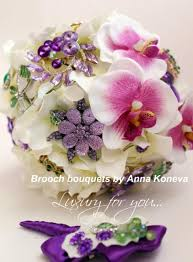 wedding flowers orchids brooch bouquet purple wedding bouquet ivory bridal broach bouquet