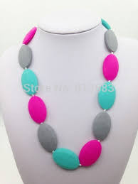 childrens necklace food grade silicone teething necklace for toddlers or children