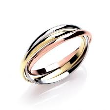 russian wedding rings 9ct three colour gold plain russian wedding band ring