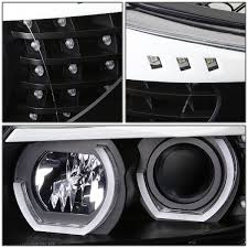 bmw headlights 3 series led u halo for 2006 2008 bmw 3 series e90 black housing projector
