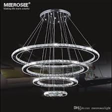Led Pendant Lighting with Mirror Stainless Steel Crystal Diamond Lighting Fixtures 4 Rings