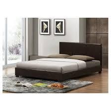 pless modern bed dark brown queen baxton studio target