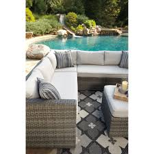 Ashley Outdoor Furniture Outdoor Sectional Set With Ottoman By Signature Design By Ashley