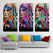 feather home decor 2018 3 panels canvas art native american indian feather home decor