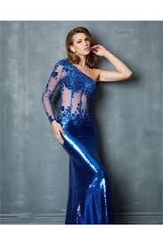 one shoulder long sleeve royal blue sequin lace evening prom dress