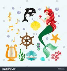 mermaid killer whale harp notes seashells stock vector 626299961