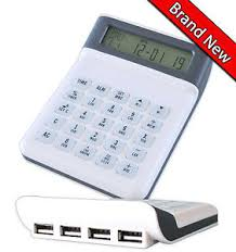 calculator hub metro calculator 4port usb hub world alarm clock calendar timer