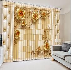 Gold Living Room Curtains Gold Rose Blackout 3d Curtains For Bedroom Living Room Children