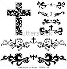 cross isolated on white background collection stock illustration