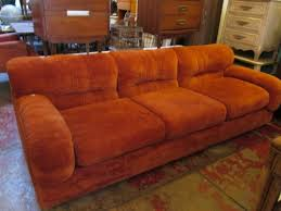 sold relax soft 1970s orange velour club sofa u2014 casa victoria