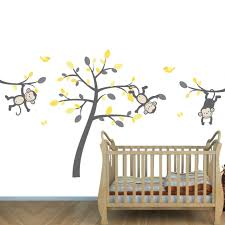 Nursery Monkey Wall Decals Gray Safari Murals With Monkey Wall Decals For Baby Room