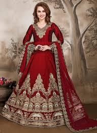 anarkali wedding dress buy zari work wedding wear tapeta silk maroon embroidered work