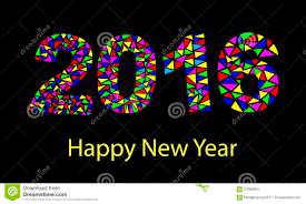 happy new year 2016 colorful greeting card made in polygonal