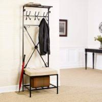 Upholstered Entryway Bench Furniture Black Stained Wood Entryway Bench With Shoe Rack And