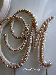 pearl cake topper monogram wedding cake toppers