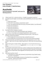 auschwitz powerpoint worksheet