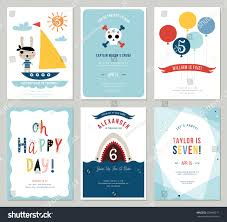 Invitation Card 7th Birthday Boy Birthday Boy Invitation Cards Set Colorful Stock Vector 625669211